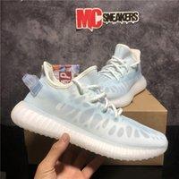 En Kaliteli Kanye Erkekler Kadınlar Batı Mesh Koşu Ayakkabıları Zebra Mono İnci Kuyruk Işık Kültür 3 M Static Yansıtıcı Erkek Bayan Açık Eğitmenler Sneakers Köpük Koşucu Kutusu
