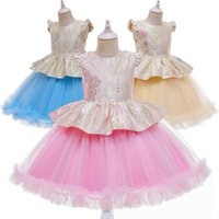 Girl's Dresses Kids Girls Clothes Teenage Children Wear Flower Birthday Lace Tutu Party Formal Princess Dress Pageant B5591