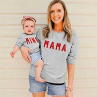 Candy Colors Autumn Winter Letters Printed Parent-child Sweater MAMA Round Neck Mother Daughter Sweatershirts Casual Top Clothes G9735DB