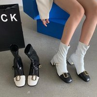 Boots Round Toe Women Sock Mixed Color Black White Stretch Booties Belt Buckle Slip On Mid Thick Heeled Spring Autumn Shoes 39