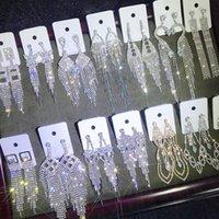 Diamonds Dong Tassel Dangles Eardrop Claw Цепные женские Серьги Серьги Бутик Женские Ювелирные Изделия Супер Флэш Горный Хрусталь Смешанная партия