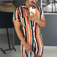 Men's Tracksuits Short Sleeve Lapel Shirts Drawstring Shorts Sets Summer INCERUN Men Striped Vintage Printed Hawaiian Beach Suit Plus Size