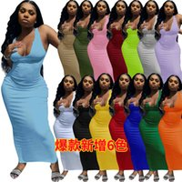 Womens Spring And Summer Casual Dresses Suspender Vest Deep V-neck Slim Sexy Long Skirt Size S-2XL DHL
