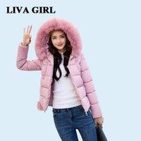 Liva chica abrigo de invierno ropa de mujer algodón nuevo femenino coreano todo cobertura delgada capa con capucha collar de piel con capucha abrigo caliente 201110