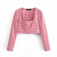 BBWM donna estate nuovo femmina colletto quadrato dolce rosa plaid camicia corta a maniche lunghe a maniche lunghe a maniche lunghe y0621