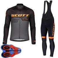 Scott Mens 사이클링 저지 세트 긴 소매 팀 자전거 셔츠 Bib 바지 키트 도로 경주 복장 야외 스포츠 자전거 유니폼 S21041629