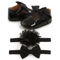 First Walkers Baby Girl Casual Born Soft Soled Crib Shoes Bowknot Princess Headbands Socks Set 0-18M ·
