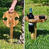 Mesa de vinho ao ar livre dobrável de madeira Praia do lanche portátil para a areia e a grama do acampamento da placa do queijo do piquenique