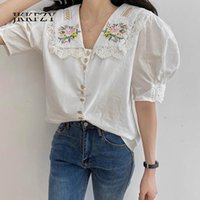 Women's Blouses & Shirts Doll Collar Embroidered Woman Fashion Design Summer 2021 Retro Puff Sleeve Top Casual