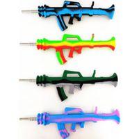 Silikon Nargile Aksesuarları Nektar Nektör Toplayıcı Kiti AK47 Şekli Su Borusu Titanyum İpucu DAB Rigs ile