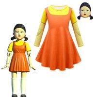 Kalamar Oyunu Yuvarlak Altı Cosplay Kostüm Ahşap Kız Elbise Maske Cadılar Bayramı Partisi Chidlren Cosplay Kızlar Için Çocuklar Elbiseler 211014