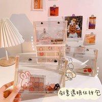 Cosméticos sacos Capas Transparentes PVC Saco Ins Cartoon Urso Maquiagem Mulher Travel Portátil Lavagem Pequeno Lápis Toalete