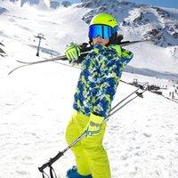 2021 22 Kış Kayak Suit çocuk takım elbise erkek ve kadın kalınlaşmış saldırı pantolon iki parçalı çocuklar