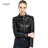 FTLZZZ Frauen Frühling Herbst PU Lederjacke Vintage Reißverschluss gewaschene Motorradjacken Slim Short Plus Size Biker-Mäntel weibliche 1