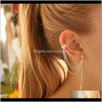 Clip-On & Screw Back Drop Delivery 2021 1Pcs Metal Leaf Tassel Earrings For Women Ear Cuff Jewelry Gold Sier Color Vintage Clip Earring Brinc
