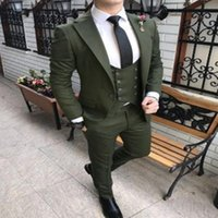 Green Double-breasted Suit Mens 2021 Custom Made Slim Fit Business Wedding Suits Male Party Groom Prom Tuxedos 3 Piece Set Men's & Blazers