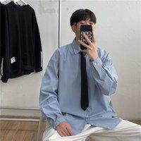Erkekler Gömlek Katı Boy Çiftler Basit Kravat Giysileri Ile Erkek Tüm Maç Ins Chic Rahat Tiki Japon Tarzı Streetwear Erkekler Günlük