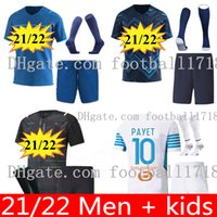 Uomo Kid Kit 21 22 Olympique Om Marseille Soccer Jersey 2021 2022 Marsiglia Maillot de piede Kamara Thauvin Camisetas Payet Benedetto Lirola Camicia da calcio uniforme