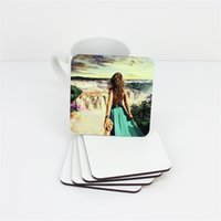 9*9cm Sublimation Coasters Wooden Blank Table Mats MDF Heat Insulation Thermal Transfer Cup Pads DIY Coaster A03 48 H1