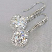 Trendy Luxury Silver Color Square Drop Earring Wedding Bridal Accessories Shine Zircon Stone Elegant Women Jewelry
