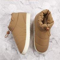 Ботинки зимние женские женские ботинки теплые хлопчатобумажные ткани женщины комфорт вниз толщиной нижней мягкой плоской женской обуви