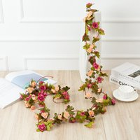 250CM Rose Artificial Flowers Christmas Garland for Wedding Home Room Decoration Spring Autumn Garden Arch DIY Fake Plant Vine