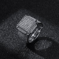 Mens Diamond Stones Iced Out Rings High Quality Fashion Gold Silver Ring Hip Hop Jewelry
