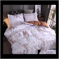 Set in magazzino Modello di marmo Biancheria da letto Stone Simple Plain Quilt Cover Fodera Set a tre pezzi senza lenzuolo ZQTTH W4QKB