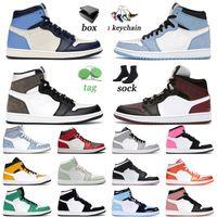 nike air jordan 1 1s retro off white shoes 농구 신발 최신 품질 하이퍼 로얄 미드 금지 된 점프 맨프 맨 높은 og 바이오 해킹 핑크 석영 발렌타인 데이 야외 스니커즈