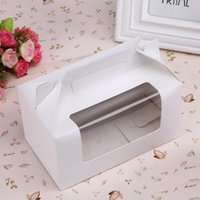 White Paperboard 2 Grid Cupcake Muffin Cake Boxes 16.5*9.2*8.7cm Portable Paper Cup Pastry Egg Tart Mousse Baking Packages