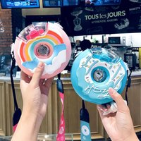 Cute Donut Nozzle Water Bottle Spray Straw Cup Outdoor Portable Strap Water Cup Silicone Drop-resistant Cup 210610