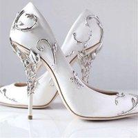 Lasca folhas espiraling naturalmente para cima calcanhar branco mulheres sapatos de casamento chique cetim stiletto saltos eden bombas vestido de mulher nupcial