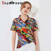 Suyadream Mulheres Imprimir Pólos 100% Real Silk Mangas Curtas Casuais Camisas Primavera Verão T Camisetas Plus Size 210603
