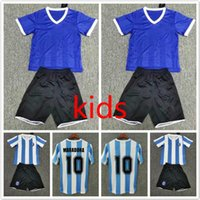 86 Kit Kit Kit Maradona Argentine Rétro Soccer Jerseys 1986 Vintage Classic Enfant Ensembles Chemises de football Uniformes Accueil Blue Blanc 86 Boys Costumes