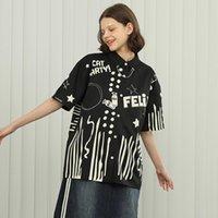 Kadın Bluzlar Gömlek Bebobsons Tasarım Kadın Şifon Bluz Siyah Karikatür Desen Baskı Zincir Dekorasyon Bayanlar Gevşek Gömlek Üst