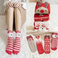 Lindo y cómodo Regalo de Navidad para adultos y niños Calcetines de algodón Caída / invierno Calcetines rojos de dibujos animados