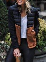 Women's Down & Parkas Slim Jackets Women Winter Fashion Patchwork Contrast Color Stand Collar Long Sleeve Zipper Jacket Lugentolo