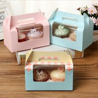 Gift Wrap DIY 5pcs 16.5x9.3x9cm 4 Color Transparent Hand Held Mousse Cupcake Box 2 Cupcakes Single Muffin Cup Cake