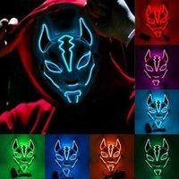 Neue Neon-LED-Licht-Maskerade-Maske Fox Cosplay-Voll-Gesichtsmaske PVC Halloween-Kostüme Club Bar Party Requisiten Unisex G0910