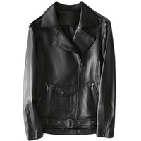 Lautaro Short Black Leather Biker Jacket Women 2021 Long Sleeve Zipper Plus Size Clothing For 5xl 6xl Faux Jackets Women's &