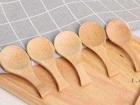 Mini cucharas de bambú natural Cuchara corta cuchara de té granos de café Scoop BWB6943