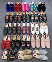 2021 Pantofole in vera pelle Princetown Pantofole Tacco piatto Donne Scuffs Fashion Slides Lady Muller Scarpe