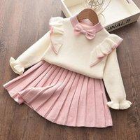 2020 새로운 가을과 겨울 키즈 소녀 세트 니트 스웨터 탑 + 주름진 치마 가운 드레스 2pcs 의류 세트 1-6Y 아기 소녀 의류 809 v2