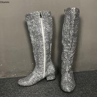 2021 Olomm Nova Moda Mulheres Joelho Alta Glitter Botas Quadrado Botinhas Botas Botas Redonda Toe Silver Club Wear Sapatos Mulheres