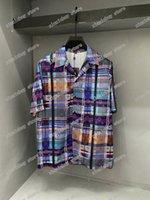 21SS Männer gedruckt T-shirts Polos Designer Buchstaben Farbe Streifen Paris Kleidung Kurzarm Herren Hemd Tag Weiß Schwarz Rot