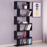 6シェルフ本棚家具モダンS字型のZシェルフスタイル本棚多機能木材収納ディスプレイスタンドダークブラウン