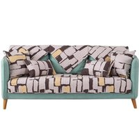 Chair Covers Sofa Cushion Cotton Fabric Non-slip Towel Simple Plush Cover Washable Removable Armrest Slipcovers 1 2 3 Seat