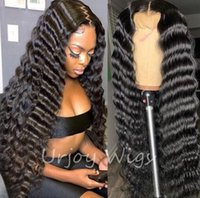 Glueless Full Lace Wig 8A Grade Virgin Brazilian Human Hair Natural Color 150% Density Free Part Deep Wave Closure Wigs for Black Woman
