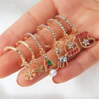 Stud 6pcs Fashion Casual Christmas Ornaments Hats Ladies Earrings Set Elegant And Exquisite Gold Accessories