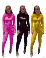 Designers jumpsuits onesies 2021 fall winter sexy women solid color pleated slim long sleeved top +Jumpsuit two piece set selling leggings
